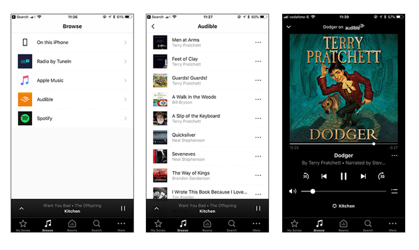 audible on sonos via audible app