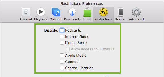 choose disable content on itunes