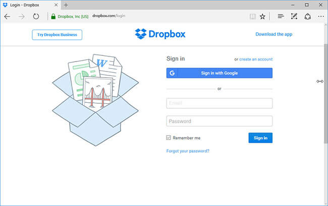 login dropbox to add files