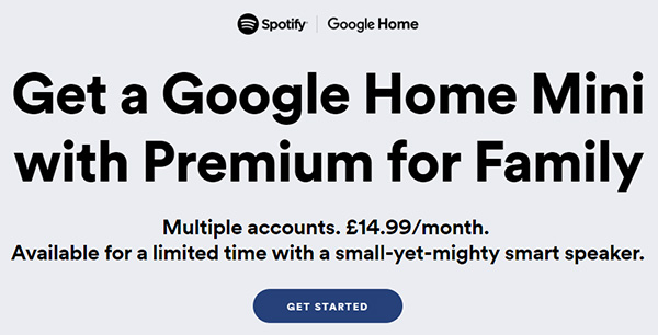 detail info between spotify and google home mini