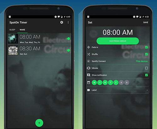 spotify sleep and wake timer