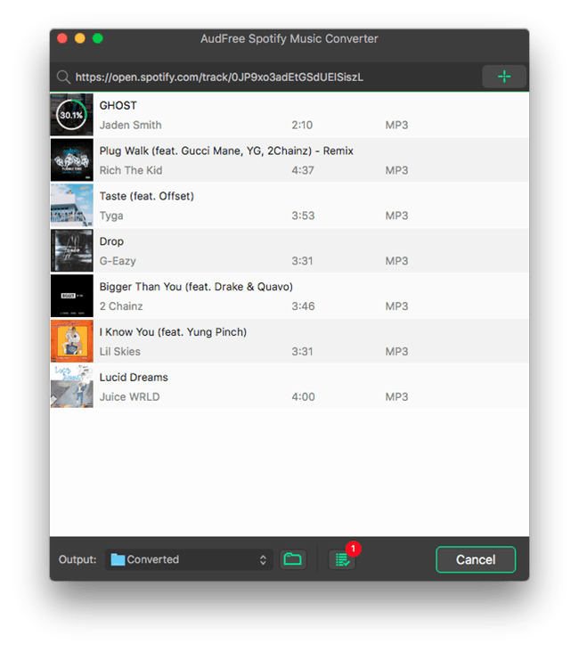 AudFree Spotify Music Converter for Mac full screenshot