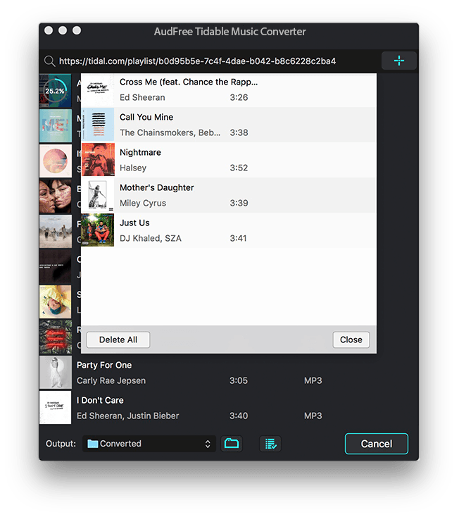 converted tidal songs